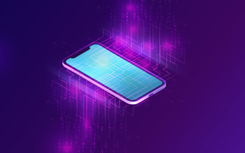 Mobile document manager business concept vector isometric illustration. Smartphone on purple ultraviolet background with information waterfall or big data stream, vertical banner or landing webpage
