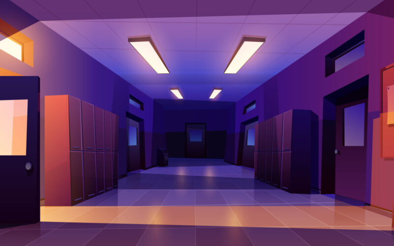 School hallway night interior with entrance doors, lockers and bulletin board on wall in electric light. Vector cartoon illustration of empty corridor in college, university with classrooms doors