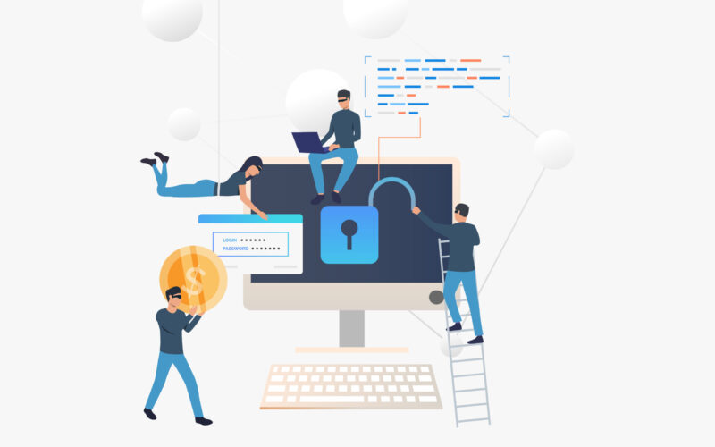 Cyber criminals hacking into bank account. Cartoon hackers opening lock, carrying password and money. Hacker attack concept. Vector illustration can be used for internet fraud, breach, money safety