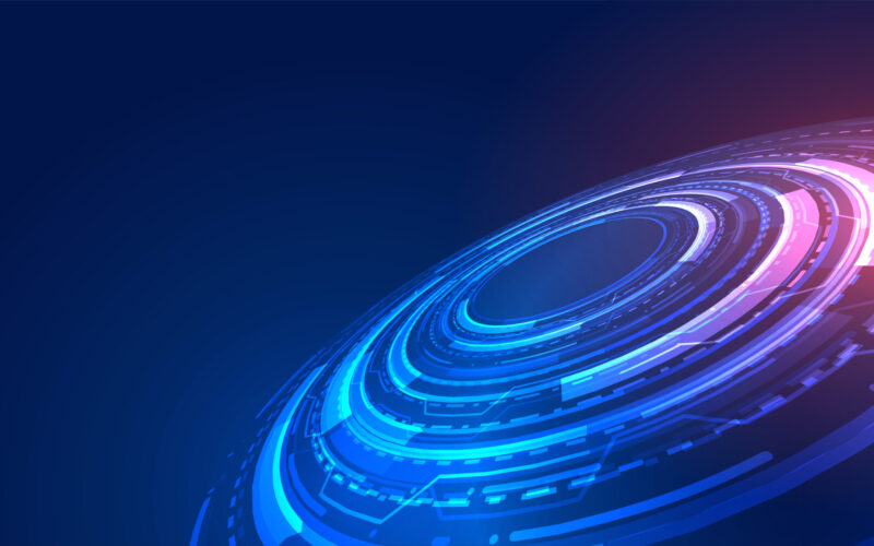 blue futuristic technology concept background with digital diagram