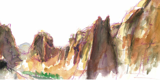 108 degrees in the shade, smith rock | 2007  watercolour on canson | size: 40 x 13cm