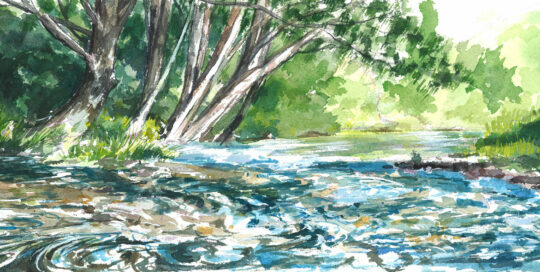 going with the flow down the lions road | 2012  watercolour on canson | size: 40 x 13cm