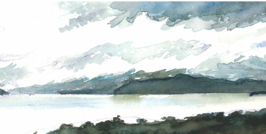 tarawera – storm clouds ripping in from the south | 2009  watercolour on canson | size: 40 x 13cm