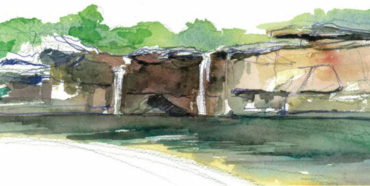 wattamolla falls at the edge of summer | 2010 watercolour on canson | size: 40 x 13cm