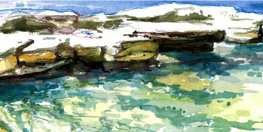 wylies baths one summer morning | 2010  watercolour on canson | size: 40 x 13cm
