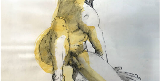 golden faceless crouch    2006   46cm W x 65cm H   charcoal on cartridge paper