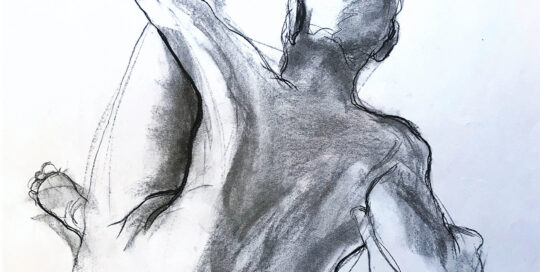 just stooling    2001   46cm W x 65cm H   charcoal on cartridge paper