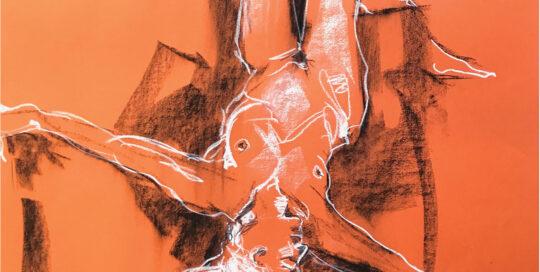 orange lying twist    2007   46cm W x 65cm H   charcoal on cartridge paper