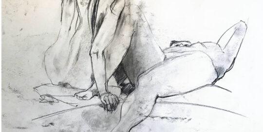 recumbent females   2006   46cm W x 65cm H   charcoal on cartridge paper