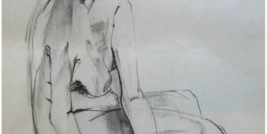 sitting Anne    2004   46cm W x 65cm H   charcoal on cartridge paper