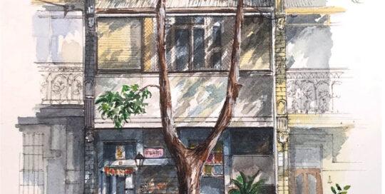 iskandaguru 51 abercrombie | 2018  22cm W x 32cm H | watercolour and pencil on arches paper