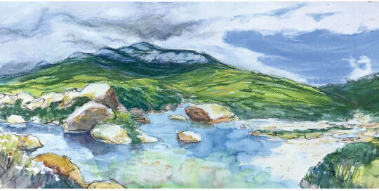 snowy river base | 2005 | 60cm W x 40cm H | watercolour and pencil on arches paper