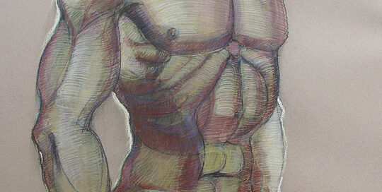 torso study for dobell | 2005 | 35cm W x 55cm H | pastel, pencil, watercolour and ink on canson