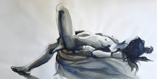 lying back | 2006 | 105cm W x 70cm H | quink ink on canson watercolour paper
