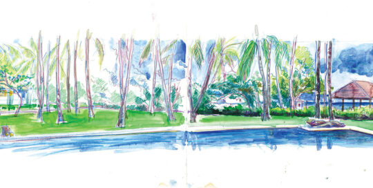 Allia Mangnis resort | colour pencil and watercolour, canson journal