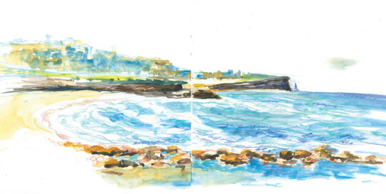 another Bronte sun day around the rock pool | colour pencil and watercolour, canson journal