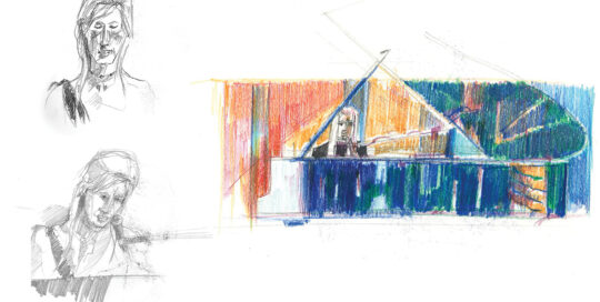 Bonnie at the piano, Archibald study | colour pencil and pencil, canson journal