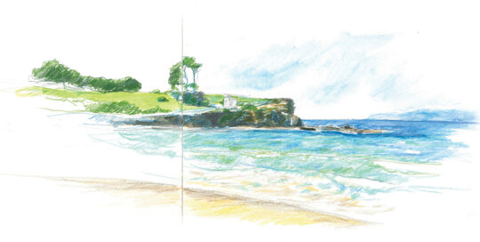 Coogee, north headland spring 2016 | colour pencil and watercolour, canson journal