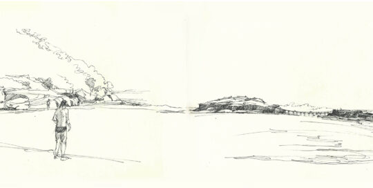 La Perouse looking across to Bare Island | pen and ink, moleskine journal