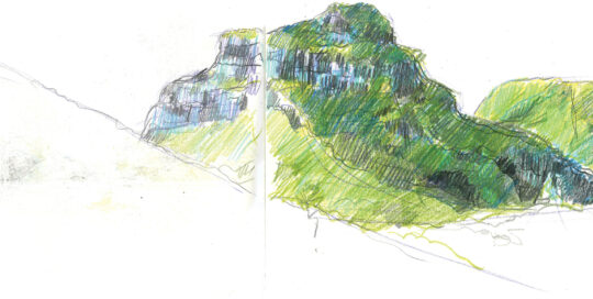 Mounts Lidgebird and Gower, Lord Howe Island | colour pencil, canson journal