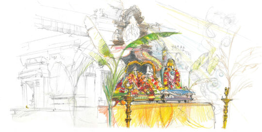 Shiva and Parvati function, SVT Helensburgh | colour pencil, ink and watercolour, canson journal