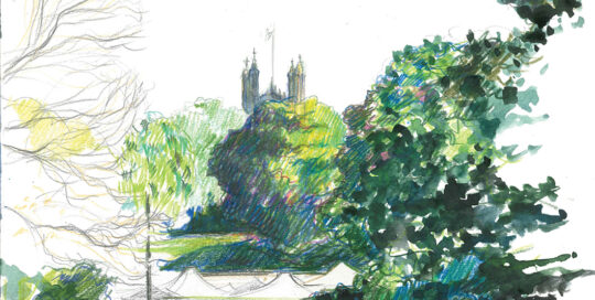 the tower tops of Sydney University above the shadows | colour pencil and watercolour, canson journal