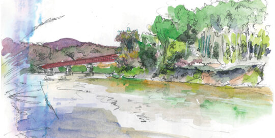 White River Vermont, USA | ink and watercolour, canson journal