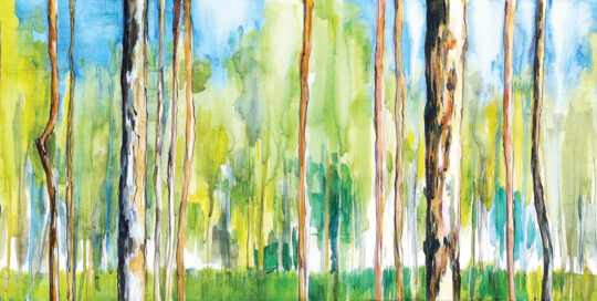 kholo bushwalk idyll | 2012 | 104cm W x 38cm H | watercolour and ink on canvas