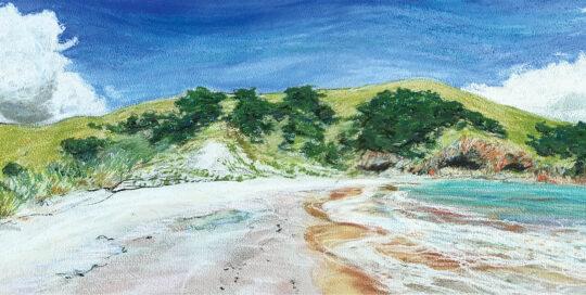 KI quiet (kangaroo island) | 2003 | 76cm W x 30cm H | pastel, watercolour and ink on arches paper