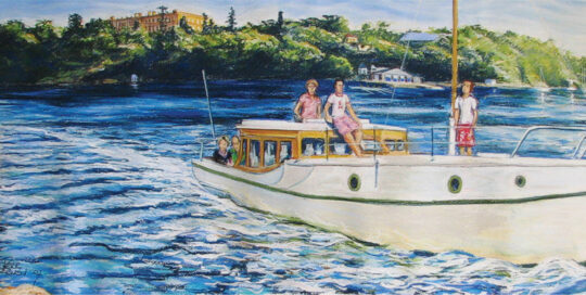 wayaree on lane cove river | 2007 | 104cm W x 37cm H | pastel, watercolour and ink on arches paper