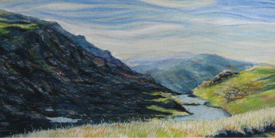 lake alpina afternoon | 2001 & 2006 76cm W x 43cm H | pastel, watercolour and ink on arches paper