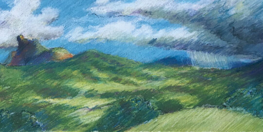 storm over mount warning | 1998 | 35cm W x 25cm H | pastel, watercolour and ink on arches paper