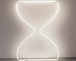 Neon Hourglass from Zoe Buckmna's solo art exhibition in NYC at Garis & Hahn