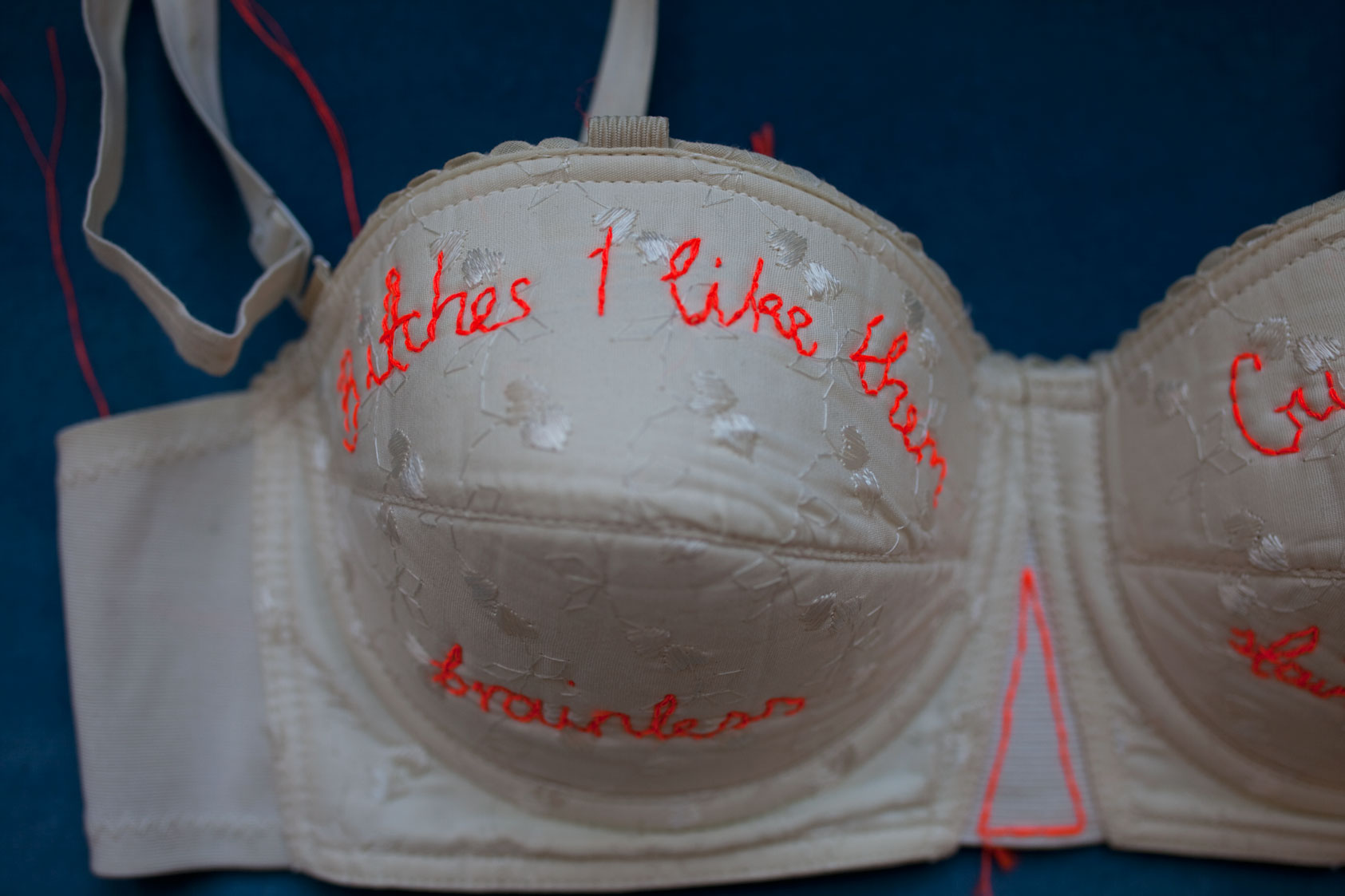Fiber Art of rap lyrics embroidered on vintage bra.