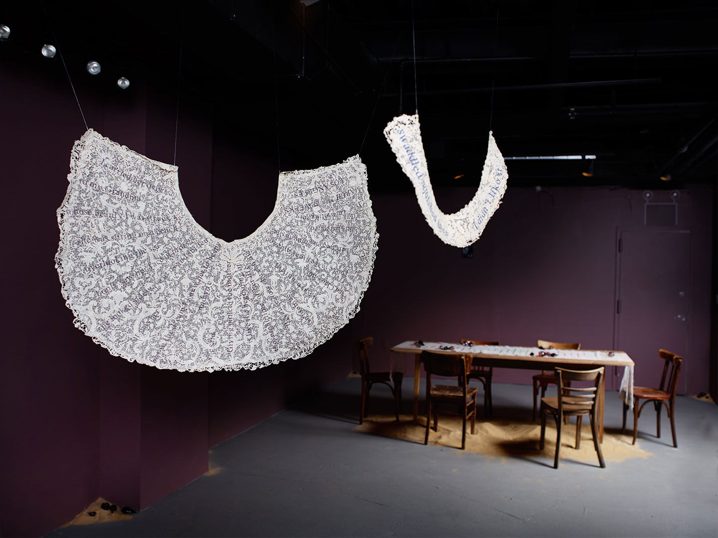 Installation art at Garis & Hahn Gallery in New York City of fiber art by Zoe Buckman.