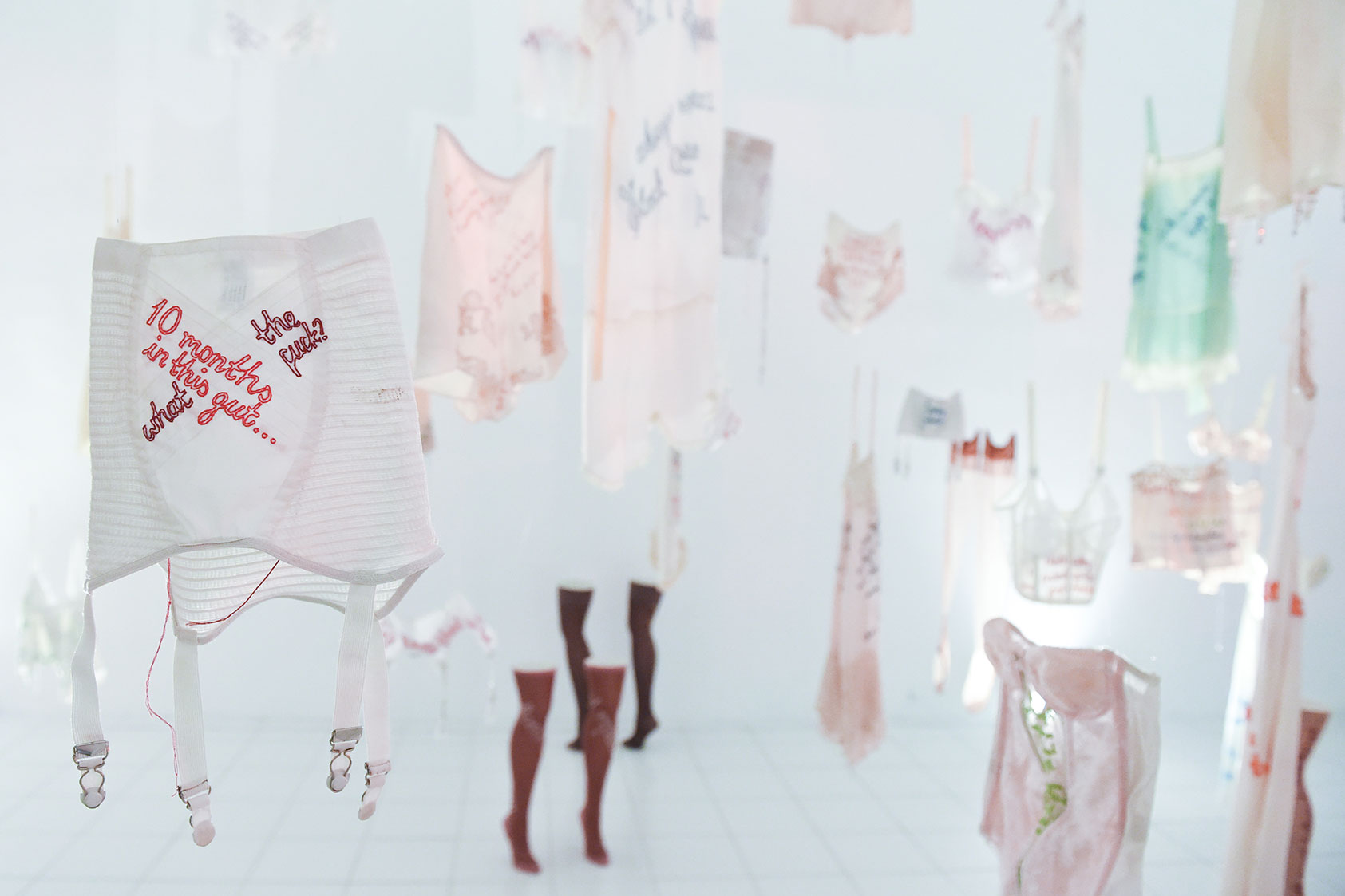 Fiber art installation exhibition of hanging embroidered lingerie