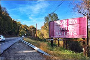 Zoe Buckman's billboard contribution for the 2016 election