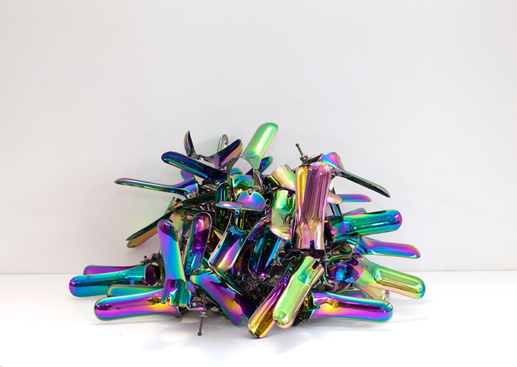 Rainbow speculum sculptures as feminist art by Zoe Buckman