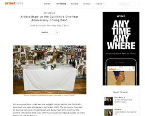Artnet News spotlights The Cultivist's anniversary with boxing performance art