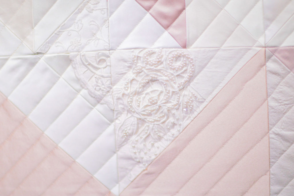 Wedding dress quilt made by Zoe Buckman
