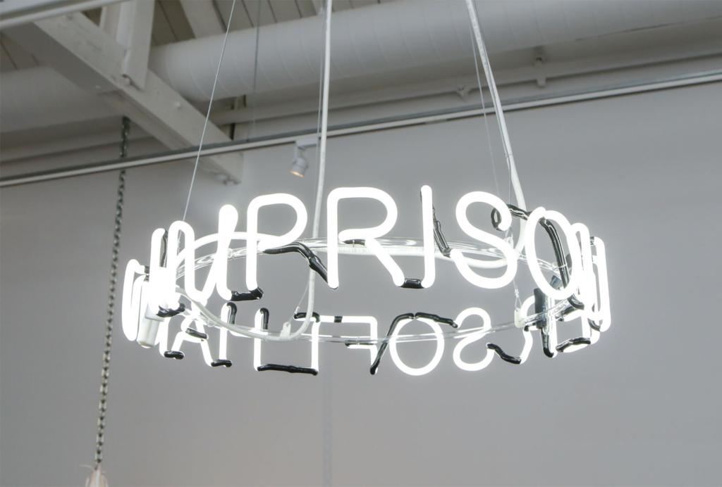 Zoe Buckman Imprison Her Soft Hand White Neon Sign