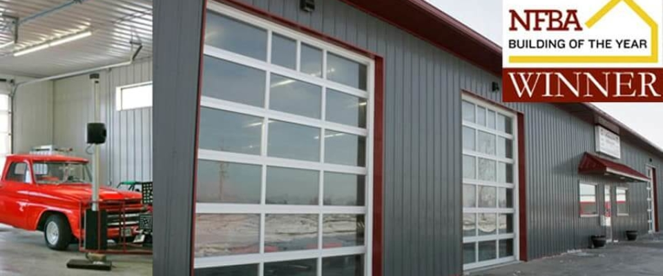 gray pole building commercial auto shop