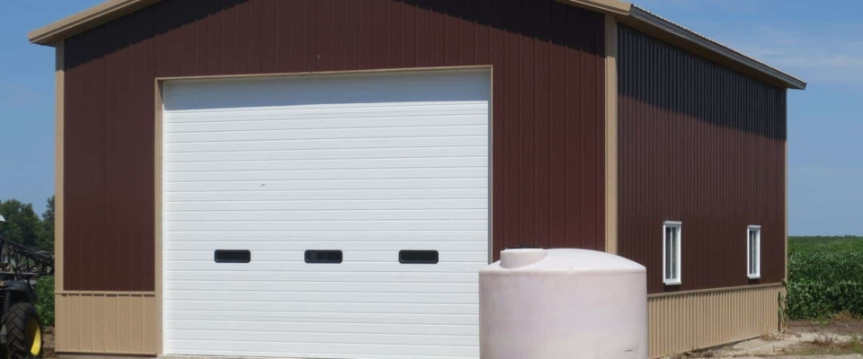small pole barn machine shed on farm