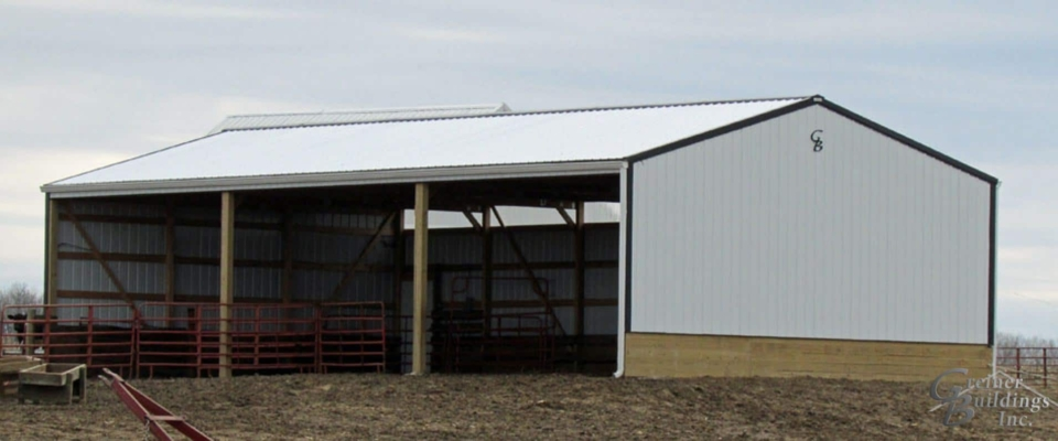 white cattle barn pole building