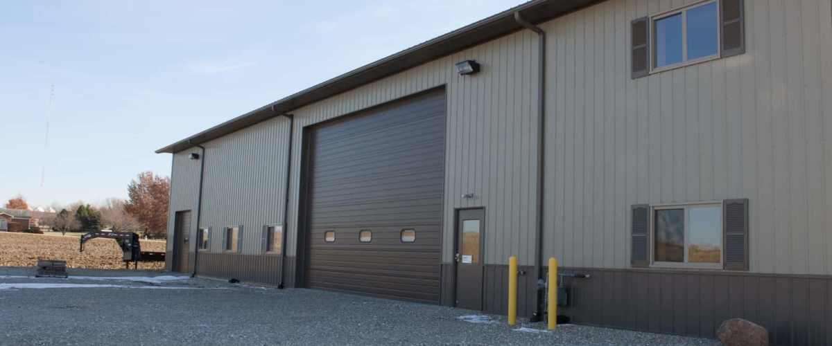brown commercial post frame building