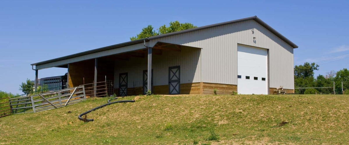 livestock gray pole building greiner buildings
