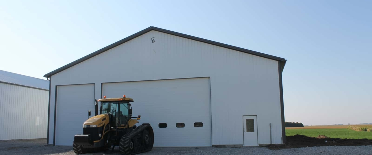 white pole barn machine shop insulated