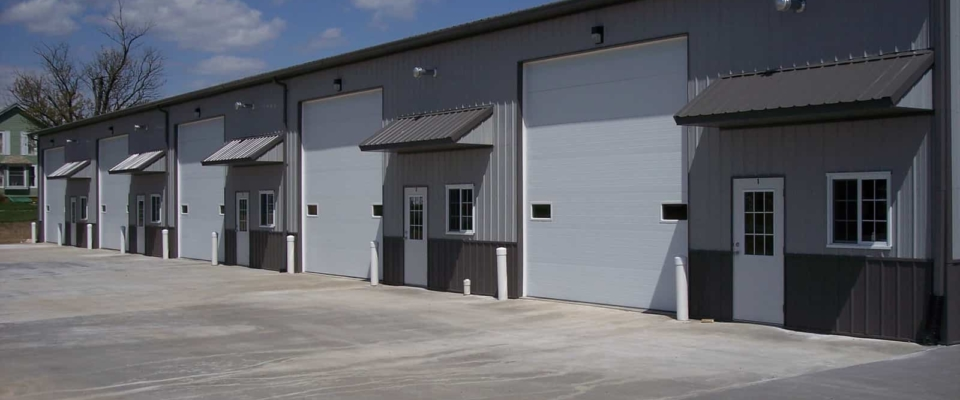 gray commercial pole building storage