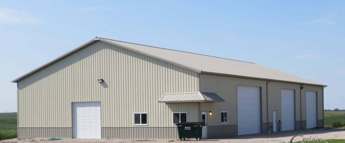 tan and gray farm shop pole building