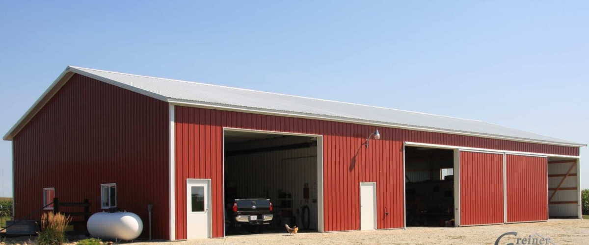 red pole barn horse stable and shop